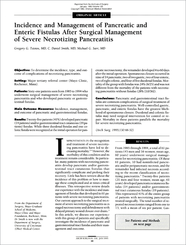 Incidence and Management of Pancreatic and Enteric Fistulas After Surgical Management of Severe Necrotizing Pancreatitis