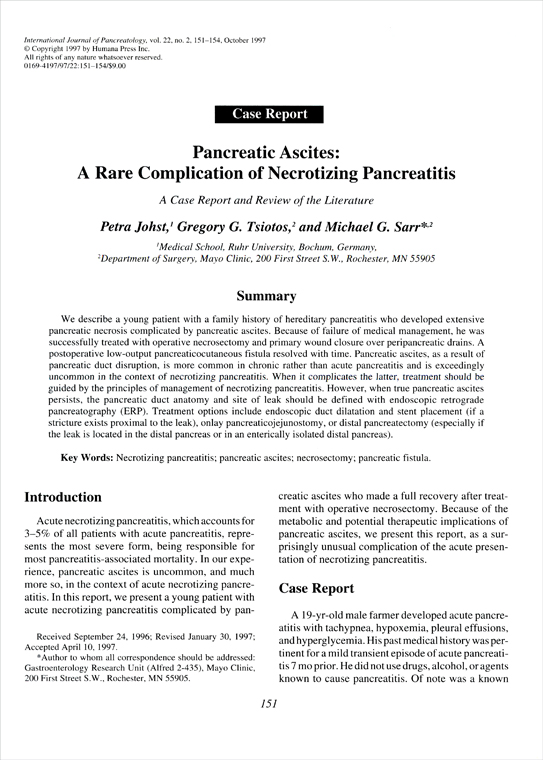 Pancreatic ascites – a rare complication of necrotizing pancreatitis: A case report and review of the literature