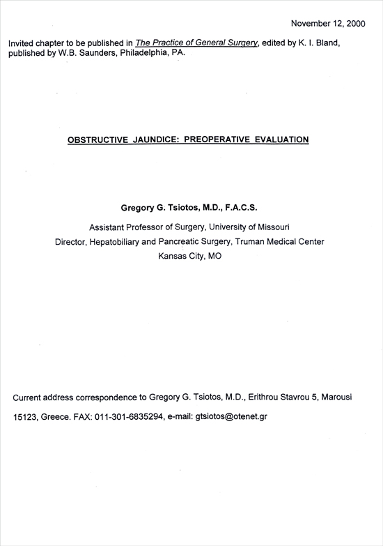 Obstructive Jaundice: Preoperative Evaluation